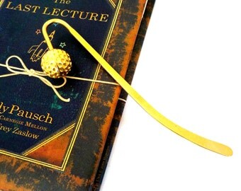 Bookmark, Gold Golf Ball Bookmark, Bookmarker, Gift for Golfers, Brass Golf Ball Bookmark, Vintage Golf Bookmark