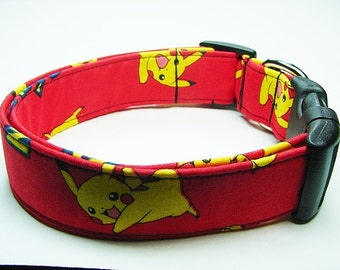 Red with Yellow Pokemon Pikachu Dog Collar