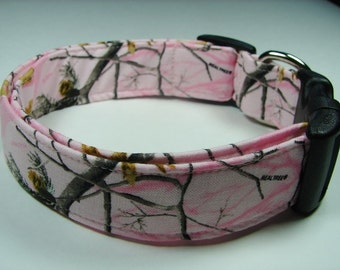Camouflage Pink Real Tree Hunting Dog Collar