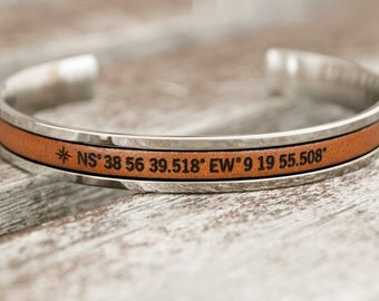 Personalized Coordinate Bracelet Long Distance Gift from Wife Girlfriend Gift For Her Latitude Longitude Bracelet Personalized Gps Bracelet