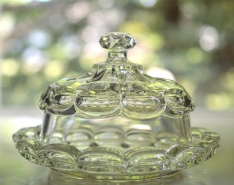 Covered Butter Dish Clear Glass Daisy and Coin Pattern