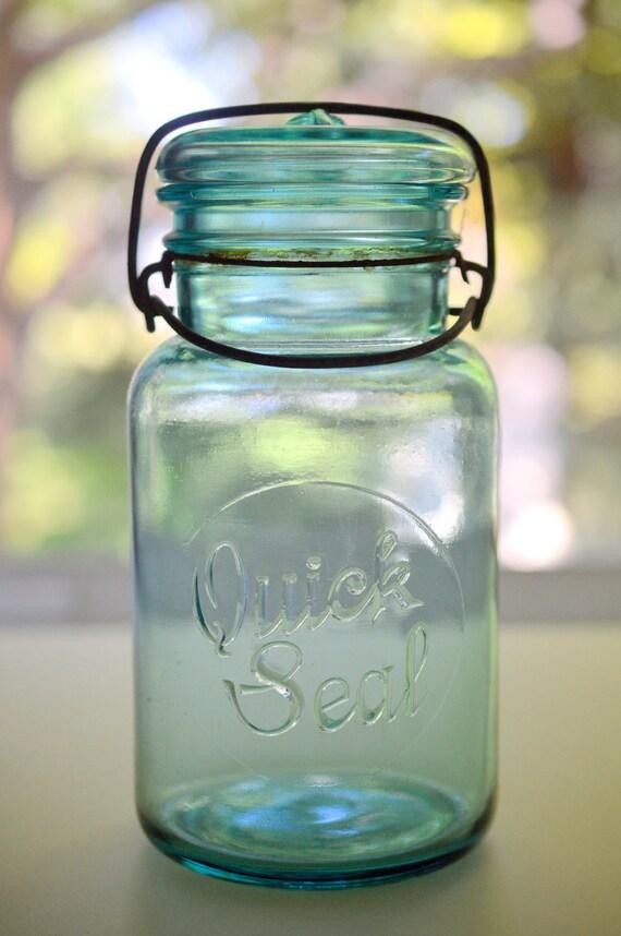 mason jar quick seal blue canning jar wire bale quart size. Black Bedroom Furniture Sets. Home Design Ideas