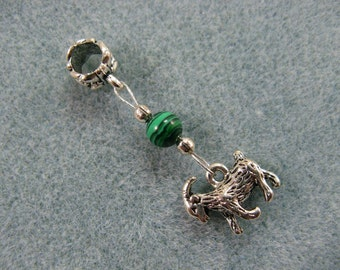 Dreadlock charm dangle with goat and malachite bead