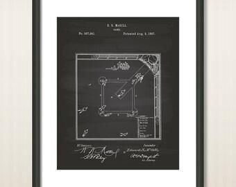 Baseball Game 1887 Patent Art Illustration - Drawing - Printable INSTANT DOWNLOAD - Get 5 Colors Background
