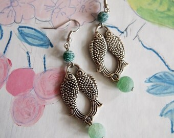 Fish earrings with frosted Agate
