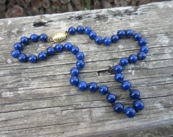 Les Bernard Lapis Colored Bead Hand Knotted Necklace Signed