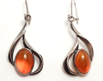 Sterling Modernist Baltic Amber Drop Earrings