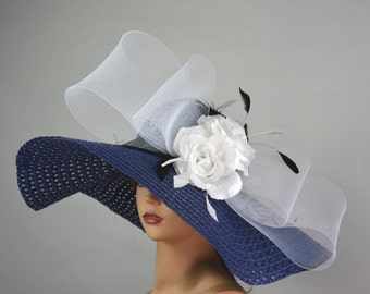 Navy Blue White Bow Woman Church Tea Hat Head Piece Kentucky Derby Hat Bridal Coctail Hat Couture Fascinator  Bridal Hat