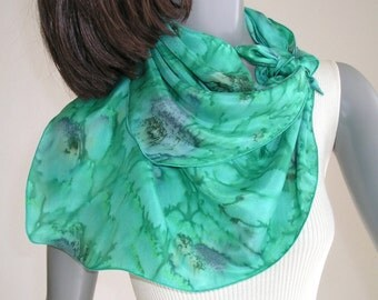 Small Square Scarf, Emerals Green, Neck Scarf Unique, Neck Silk Scarf, Hand Painted Silk, Artist Handmade, Moss Mint, Original Art, Jossiani