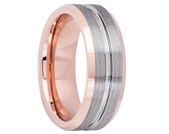 Gunmetal Tungsten Wedding Band,Tungsten Wedding Ring,Rose Gold Tungsten,Brushed Tungsten Band,18k Rose Gold,Anniversary Band,Engagement Ring