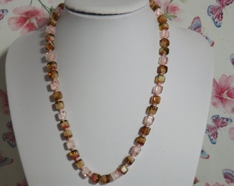 A very fine period square shape bead vintage jewelry necklace made of mixed pink, cream and brown mottled  ( Murano ) type glass beads