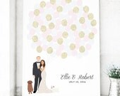 Wedding Guest Book Canvas with Couple Portrait for Guestbook Alternative
