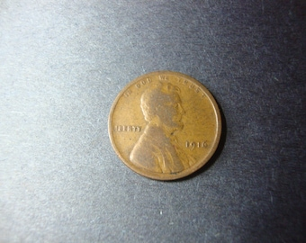 SALE - 1916 United States Cent - Wheat Penny - 100 Year Coin - Lincoln - U.S. Coin - Philadelphia Mint - .65 Cent Ship / 1.25 Int'l Ship