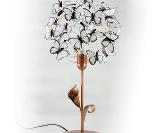 Copper table lamp with arum Lilly and white butterflies,Gift for her,butterfly lover,Women Gift,mother