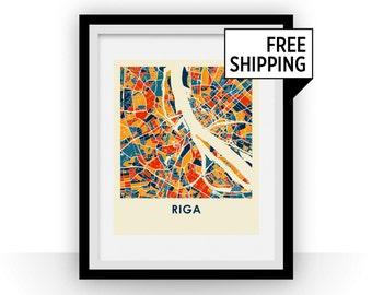 Riga Map Print - Full Color Map Poster
