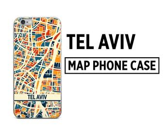 Tel Aviv Map Phone Case - Tel Aviv iPhone Case - iPhone 6 Case - iPhone 5 Case - iPhone 7 Case
