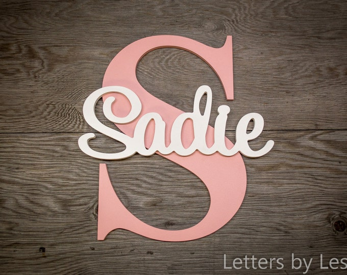 Large - Nursery Name Sign Capital Letter Baby Name Plaque Personalized Nursery Baby Name Wall Hanging Nursery Wooden Wall Art
