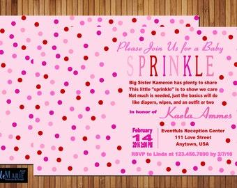 Baby Sprinkle Invitation  Valentineu0027s Pink_red Girl Shower Invite Or Evite