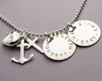 925 Silver name NECKLACE with engraving, faith love hope