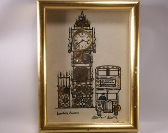 Vintage London Scene Horological Collage 1976 Signed L Kersh of London England.epsteam