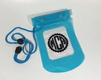 Monogrammed Keep it Dry Pouch - Pool, Beach, Boating, Personalized, Monogrammed, Blue
