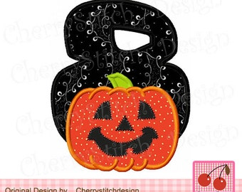 "Jack O'Pumpkin number 8 Halloween Machine Embroidery Applique Design - 4x4 5x5 6x6"""