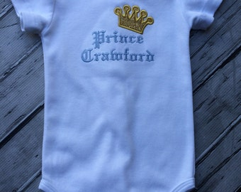 Infant Bodysuit, Little Prince, Gold Crown.
