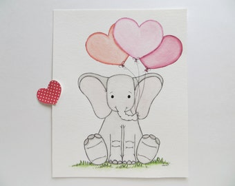 Little One, nursery art, baby elephant, original painting, elephant and balloons, pink peach coral, kids wall art, baby shower gift