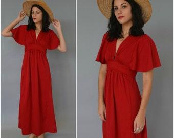 1970s merlot maxi dress