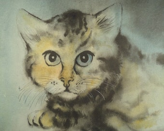 CAT WATERCOLOR PAINTING Original Animal Art Vintage Portrait Artwork Dark Tabby Pet Feline European Modernist Expressionism Framed Signed