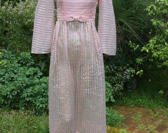 ON SALE  1960s sheer pink bow tie candy stripe lurex maxi Xsmall