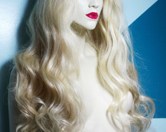 Lovely Front Lace Wig #60 Remi Remy Indian Human Hair Wavy Curly Blonde choose Length and Texture