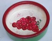 Grape bowl, bunch of grapes wood bowl, grape cluster painted bowl