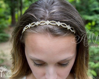 Petite Gold Wedding Headband - Bridal Headband - Flower Girl Headband - Bridal Headpiece - Prom - Wedding Accessory - Bridesmaid Headband