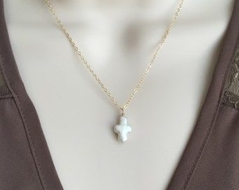 Cross Necklace. White Freshwater Pearl Cross. Gold Filled. Pearl Pendant. Pearl Jewelry.Dainty Necklace. Baptism Jewelry.Friendship Necklace