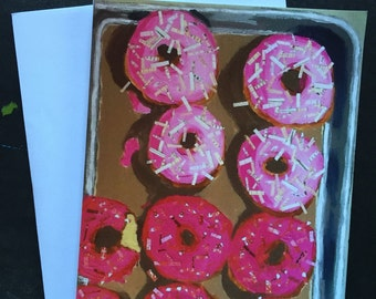 Pink Doughnuts Collage Single Notecard