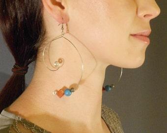 Women's Earrings, Semi Precious Stone Bead Earrings, Unique Earrings, Handmade Earrings