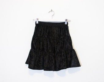 on sale - black velvet ruffled mini skirt / high waist flared tiered skirt / size XS