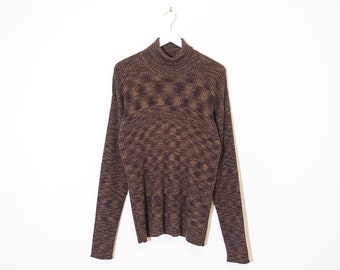 on sale - heather brown turtleneck sweater / ribbed long sleeve knit / size L / XL