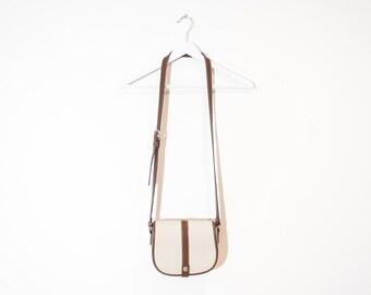 on sale - small Esprit crossbody purse / beige & brown houndstooth handbag