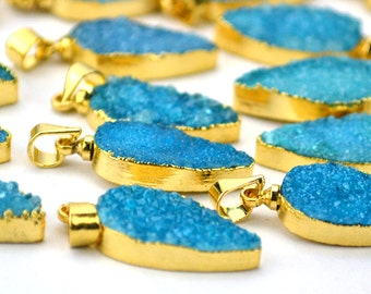 22k Gold Electroplated Sea Blue Druzy Pendant, 22x9mm Pears Shape Druzy Gemstone Necklace Pendant 1pc GemMartUSA (GEB-50010)