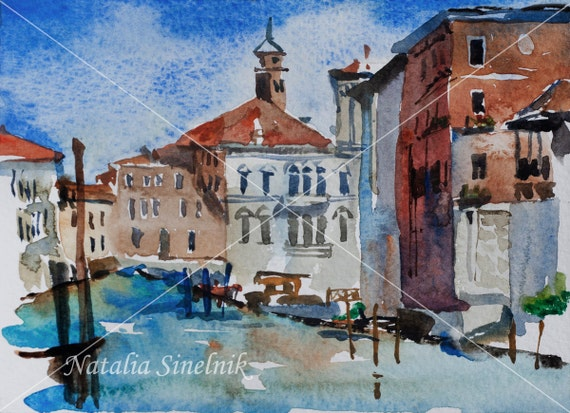 Venice Grand Canal landscape view from Academy digital download from original watercolor Italian romantic postcard  clipart