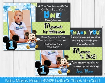 Baby Mickey Mouse 1st Birthday - Invitation Or Thank You Card, Personalized Digital file - Custom Colors