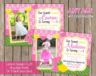 Any Age  Pink and Yellow Lemonade Invitation OR Thank you Card Note -Lemon Photo Birthday Invitations- Digital File- DIY