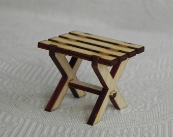 Fairy Garden Accessories - miniature natural unpainted table furniture handcrafted side table ready to paint - dollhouse table