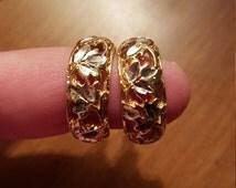 Gorgeous Vintage Vermeil Sterling Silver Cut Out Vine Hoop Earrings