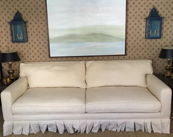 Custom Pinstriped White/Beige Sofa