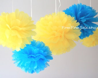 SALE - Minions Party - 8 Tissue Paper Pom Poms - Fast Shipping - Baby Shower / Birthday Party / Nursery Decor