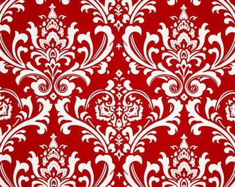 Ozborne Lipstick Premier Prints Fabric - One Yard - Red and White Damask Home Decor Fabric
