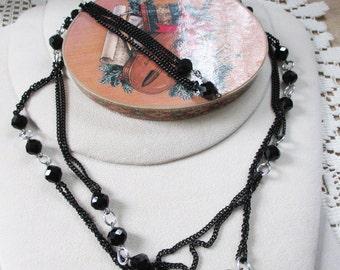 Vintage Black Jet Rope Necklace marked Germany - Awesome collection of Jet - Estate find!